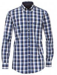 Freizeithemd Casa Moda Comfort fit Kariert Blau Extra langer Arm 69cm