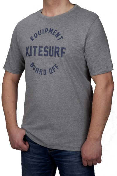 T-Shirt KITARO -Grau mit Aufdruck-- in extra lang