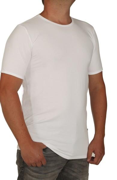 K I T A R O- T-Shirt (stretch ) Kurzarm - Rundhals Weiss-- extra lang