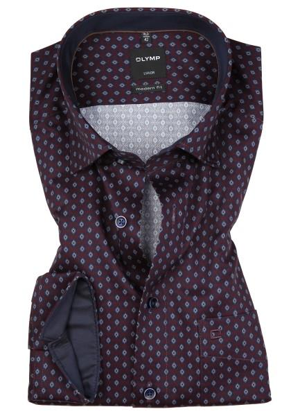 Hemden Extra Langer Arm 69 cm, OLYMP Luxor modern fit, Gemustert Bordeaux