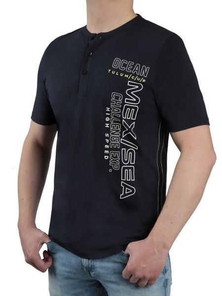 T-Shirt KITARO mit Knopfleiste in Marine mit Aufdruck, in Extra lang