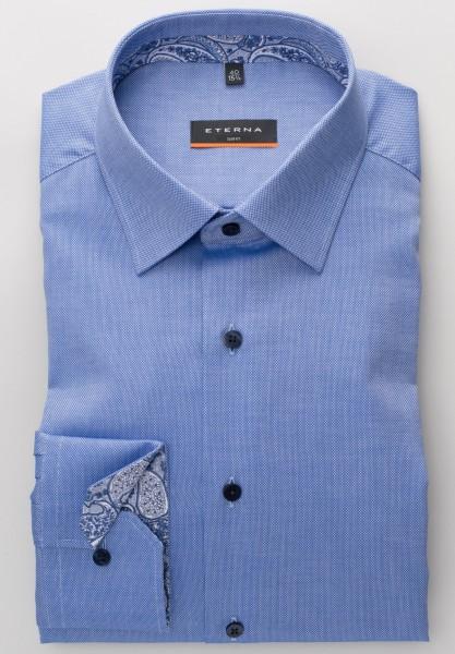 Extra langer Arm 72 cm, Hemd Eterna Slim fit, Struktur Blau mit Ausputz