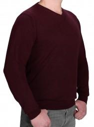 K I T A R O Pullover V-Ausschnitt Bordeaux in EXTRALANG