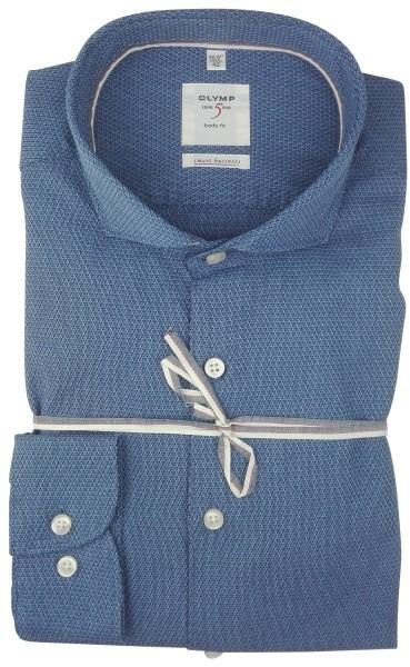 OLYMP Extra Langer Arm 69 cm, Hemden Level Five, body fit, Smart Business, Gemustert Blau