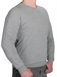 K I T A R O Pullover V-Ausschnitt Hellgrau in EXTRALANG