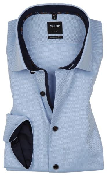 OLYMP Extra langer Arm 72 cm, Hemden Luxor modern fit, Gemustert Hellblau mit Ausputz
