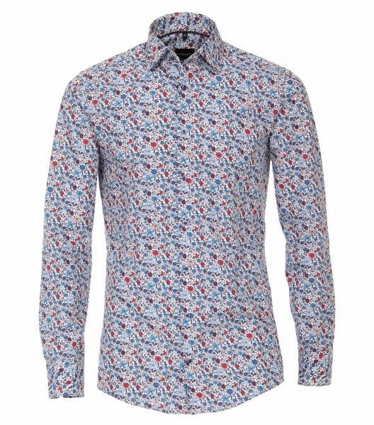 Hemden Extra langer Arm 72 cm, Venti Modern Fit, Gemustert Blau