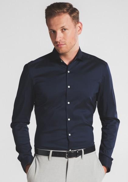 Hemden Extra langer Arm 72 cm, E T E R N A Slim Fit, Marine
