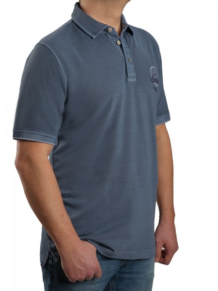 Poloshirt KITARO Blau--Rumpf und Kurzärmel in EXTRALANG
