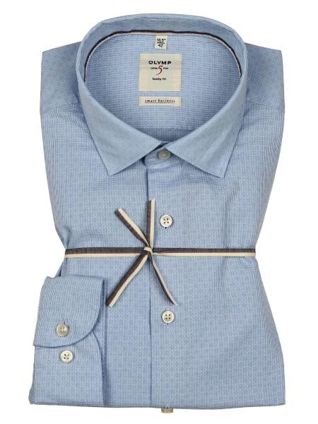 OLYMP Extra Langer Arm 69 cm, Hemden Level Five, body fit, Smart Business, Gemustert Hellblau