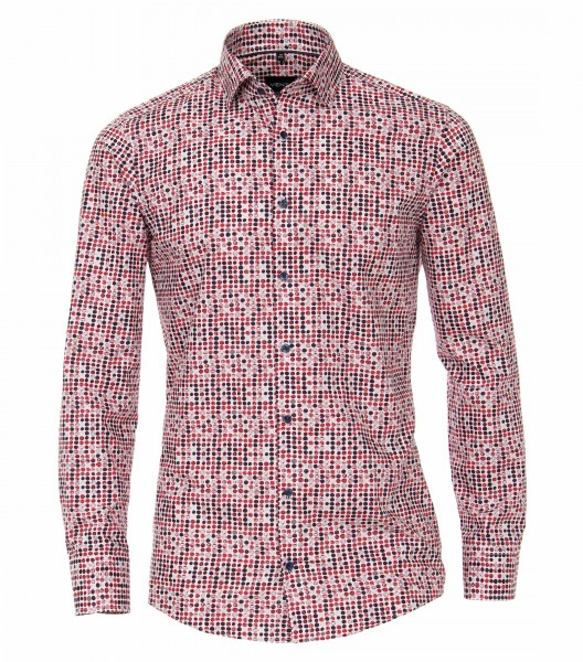 Hemden Extra langer Arm 72 cm, Venti Modern Fit, Gemustert Rot