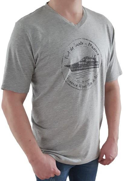 T-Shirt KITARO -Grau mit V-Ausschnitt, in extra lang