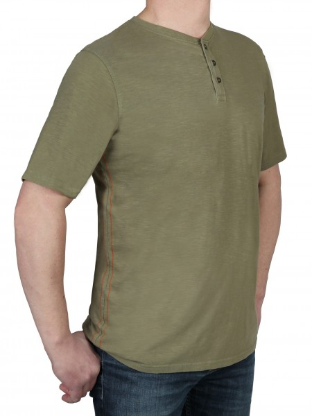 T-Shirt KITARO -Rundhals mit Knopfleiste in Olive, in extra lang