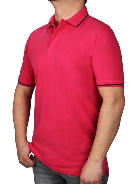 Poloshirt KITARO Pink--Rumpf und Kurzärmel in EXTRALANG