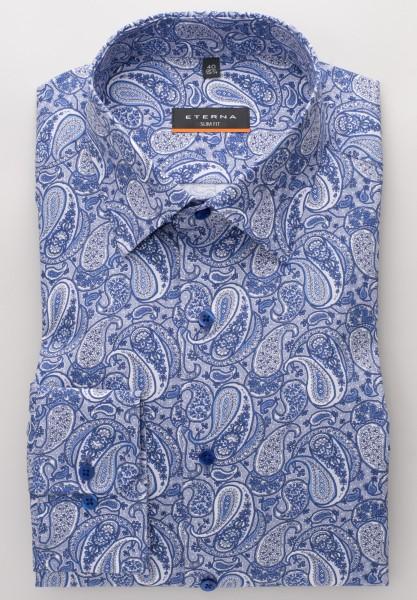 Extra langer Arm 72 cm, Hemd Eterna Slim fit, Paisley Blau/weiß