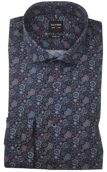 OLYMP Extra Langer Arm 69 cm, Hemden Level Five, body fit, Gemustert