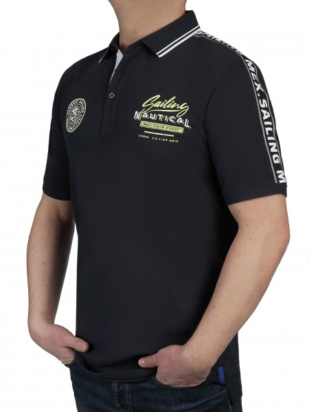 KITARO Poloshirt in Marine-Extra Lang