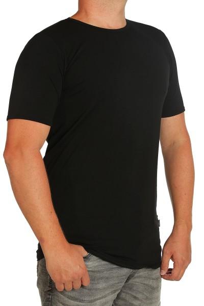 K I T A R O- T-Shirt (stretch ) Kurzarm - Rundhals schwarz-- extra lang