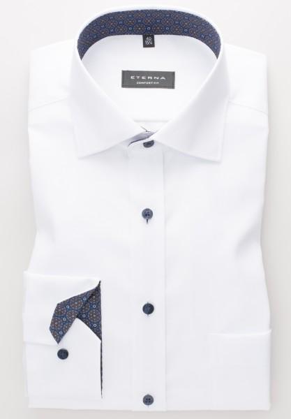 Hemden Extra langer Arm 68 cm, E T E R N A modern fit, Weiss mit Ausputz