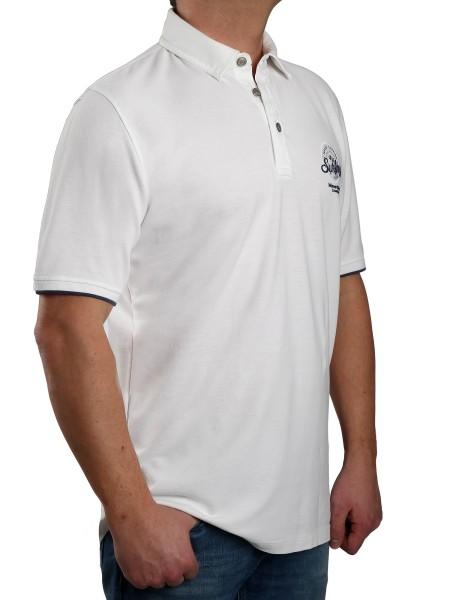 Poloshirt KITARO Weiß--Rumpf und Kurzärmel in EXTRALANG