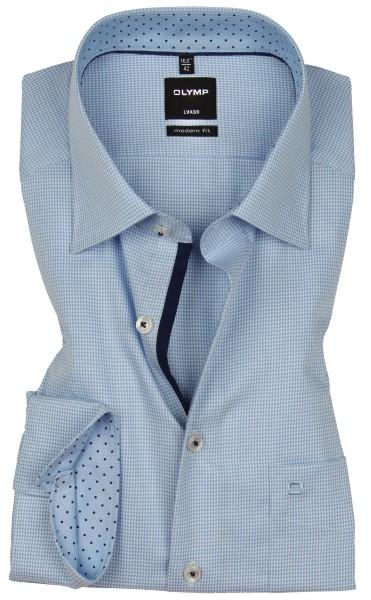 OLYMP Extra langer Arm 69 cm, Hemden Luxor modern fit, Kariert Blau/Weiss