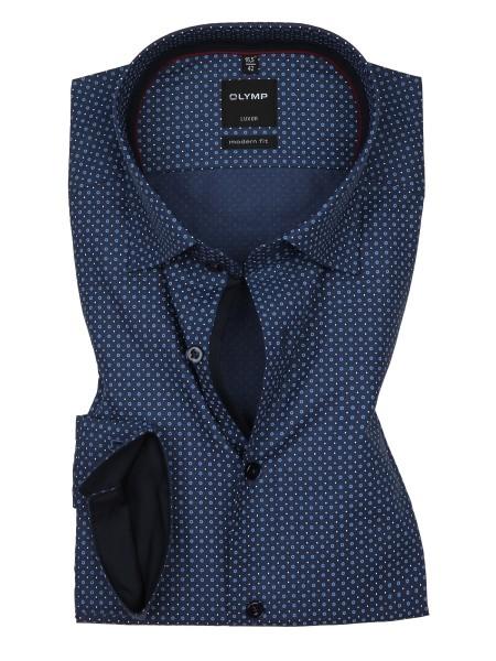 OLYMP Extra langer Arm 69 cm, Hemden Luxor modern fit, Gemustert Blau