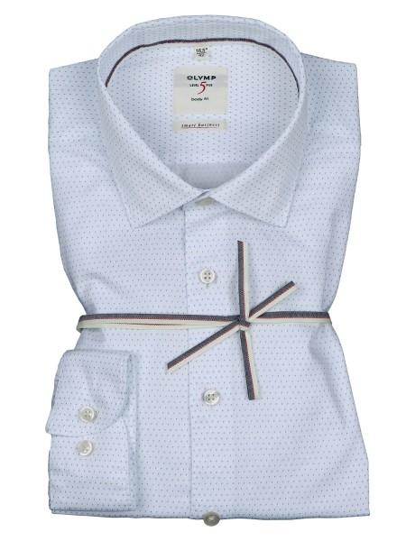 OLYMP Extra Langer Arm 69 cm, Hemden Level Five, body fit, Smart Business, Weiss Gemustert