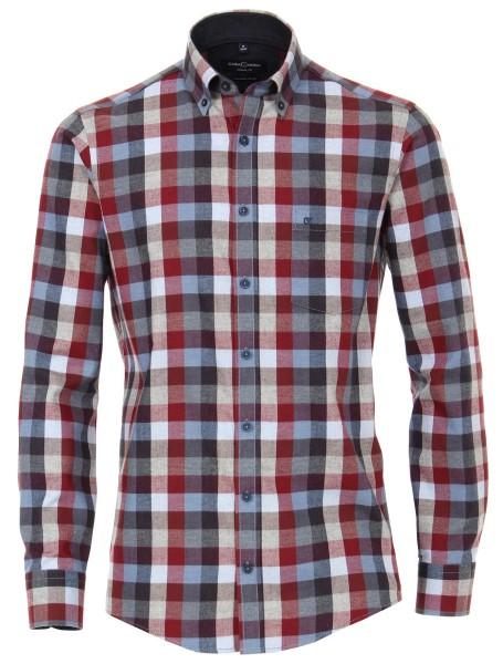 FLANELL-Freizeithemd, Extra langer Arm 72 cm, Casa Moda Casual Fit, Kariert Rot