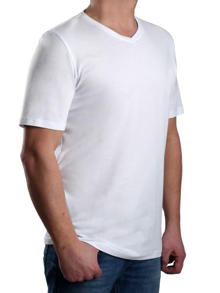 T-Shirt KITARO V-Ausschnitt Weiß-- EXTRALANG