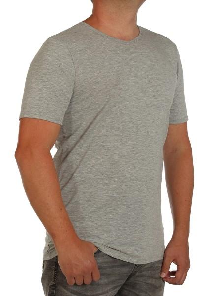 K I T A R O- T-Shirt (stretch ) Kurzarm - V-Ausschnit, Hellgrau-- extra lang