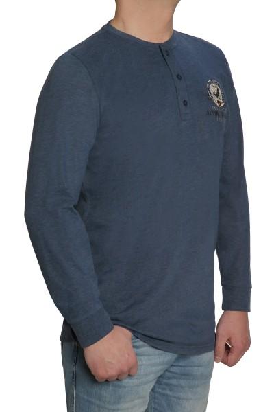 Langarm T-Shirt KITARO, Blau mit Knopfleiste- EXTRALANG