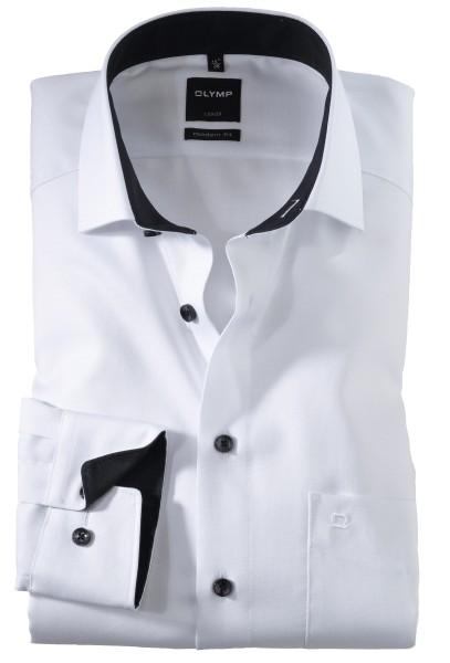 OLYMP Extra langer Arm 69 cm, Hemden Luxor modern fit, Struktur Weiß