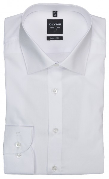 OLYMP Extra Langer Arm 69 cm, Hemden Level Five, body fit, Weiß
