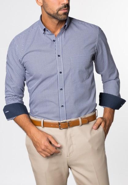 Hemden Extra langer Arm 68 cm, E T E R N A Modern fit, Kariert Blau/Weiß