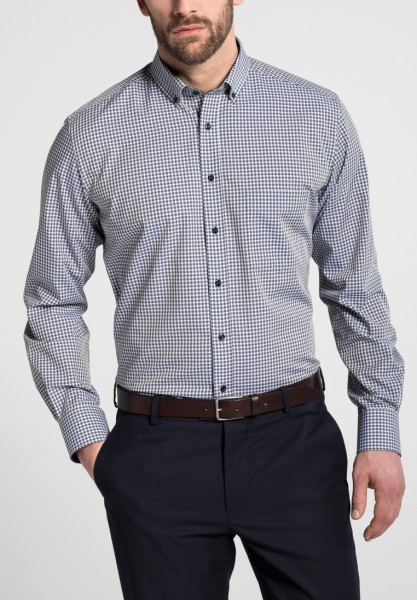 Hemden Extra langer Arm 72 cm, E T E R N A Modern Fit, Kariert Grün