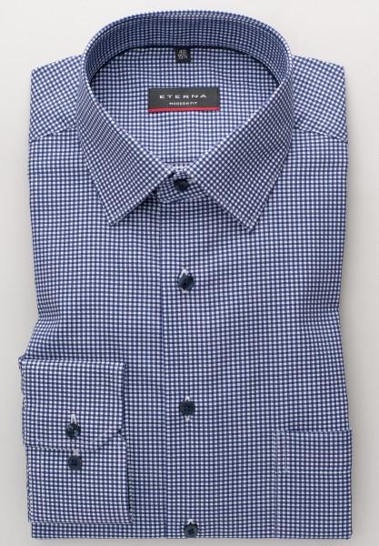 Hemden Extra langer Arm 72 cm, E T E R N A modern fit, Kariert Blau/Weiss