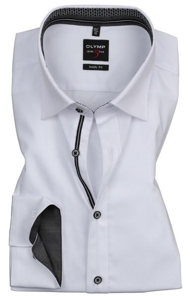 Hemden Extra langer Arm 69 cm, OLYMP Level 5 Body Fit, Weiß mit Ausputz