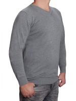 Extra langer Pullover Herren, K I T A R O-V-Ausschnitt, in Hellgrau