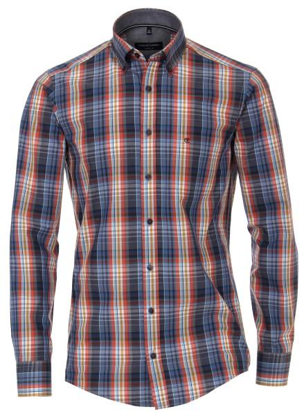 Freizeithemd, Extra langer Arm 72 cm, Casa Moda Casual Fit, Kariert Blau/Orange