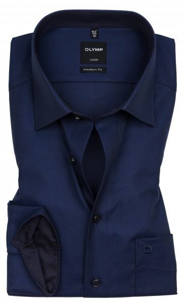 Hemden Extra Langer Arm 69 cm, OLYMP Luxor modern fit, Gemustert Schwarz/Blau