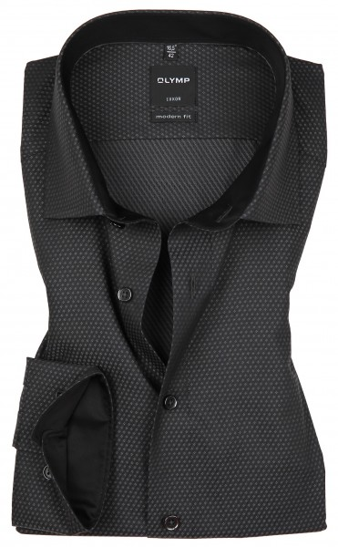Hemden Extra Langer Arm 69 cm, OLYMP Luxor modern fit, Gemustert Schwarz