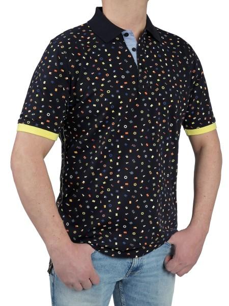Herren Poloshirt KITARO Gemustert marine -Extra Lang