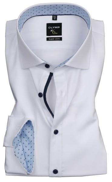 Hemden Extra Langer Arm 69 cm, OLYMP No. Six super slim, Weiß mit Ausputz