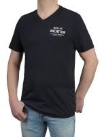 T-Shirt KITARO -V-Ausschnitt in Marine mit Aufdruck, in Extra lang