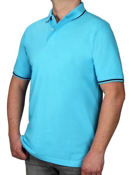 Poloshirt KITARO Hellblau--Rumpf und Kurzärmel in EXTRALANG