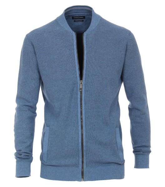 Casa Moda Strick-Jacke in EXTRALANG, Rumpf und Ärmel, Blau