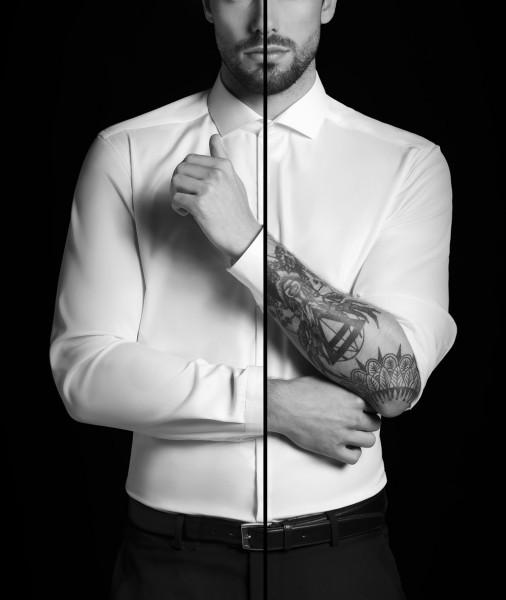 Hemden Extra langer Arm 72 cm, E T E R N A Slim Fit, Weiss-BLICKDICHT