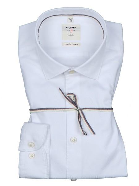OLYMP Extra Langer Arm 69 cm, Hemden Level Five, body fit, Smart Business, Struktur Weiß