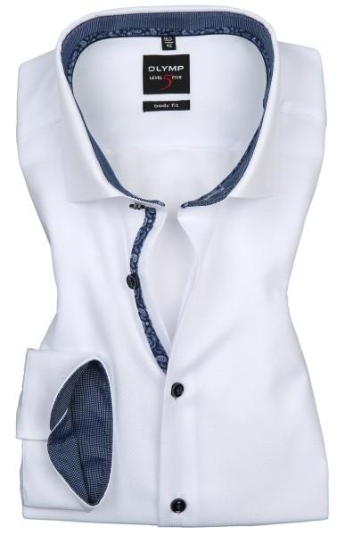 OLYMP Extra langer Arm 69 cm, Hemden Level 5 Body Fit, Struktur Weiß