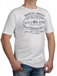 T-Shirt KITARO Weiß mit Aufdruck-- EXTRALANG